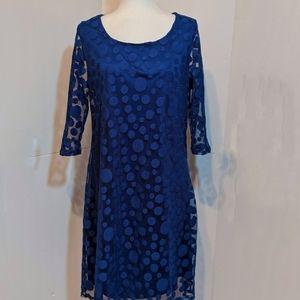 Fresh of LA Royal Blue Lace Covered Dress Size 1X